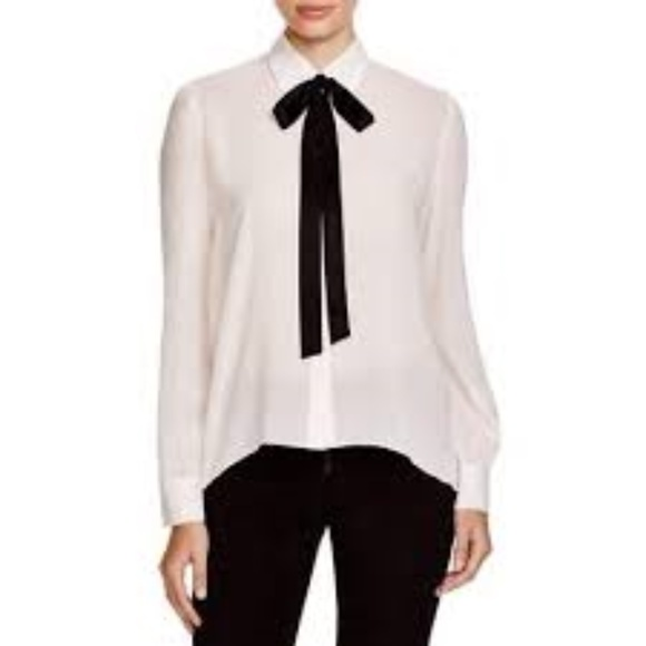 1177071eef878 Alice + Olivia Pussy Bow Silk Blouse in off white